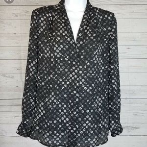 Vince Blouse Black White Polka Dot Long Sleeve